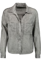 Enza Costa Washed Cotton Shirt Gray