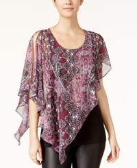 Amy Byer Bcx Juniors' Printed Asymmetrical Top With Necklace Wine Multi
