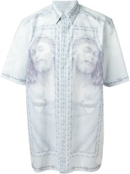 Givenchy Christ Print Shirt Blue