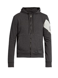 Moncler Gamme Bleu Striped Zip Through Cotton Sweatshirt Grey Multi