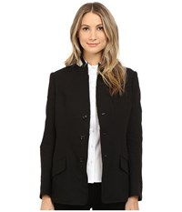 Y's By Yohji Yamamoto U Stand Up Collar Linen Blazer Jacket Black