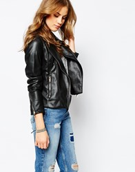 Pull And Bear Pullandbear Faux Leather Biker Jacket Black