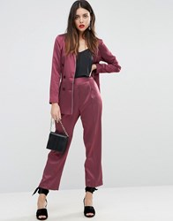 Asos Piped Stripe Tapered Trousers Berry