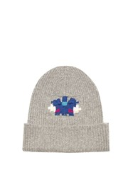 Barrie Star Games Cashmere Beanie Hat Grey Multi