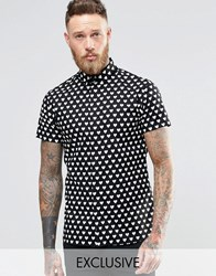 Noose And Monkey Short Sleeve Shirt With All Over Heart Print Black