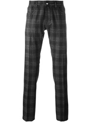 Jacob Cohen Plaid Straight Trousers Brown