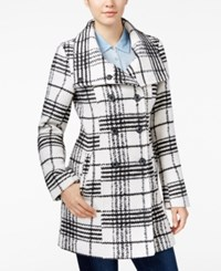 Amy Byer Bcx Juniors' Plaid Flare Collar Pea Coat White Black Combo