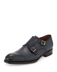 Magnanni Pinked Leather Double Monk Loafer Navy