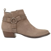 Mint Velvet Betty Nubuck Leather Cross Strap Ankle Boots Taupe