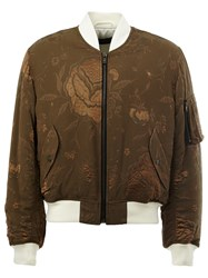 Haider Ackermann Floral Embroidered Bomber Jacket Green