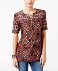 Ny Collection Petite Printed Lace Up Peasant Tunic Rust Ranier