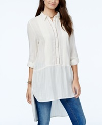 American Rag Crochet Trim Pintucked High Low Tunic Only At Macy's Egret