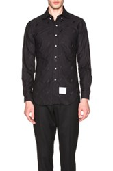 Thom Browne Whale And Turtle Embroidery Shirt In Black
