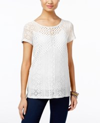 Inc International Concepts Mixed Knit Illusion Top Only At Macy's Bright White