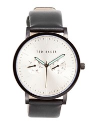 Ted Baker Day And Date Display Leather Band Watch Black