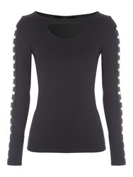 Jane Norman Cut Out Long Sleeved Top Black
