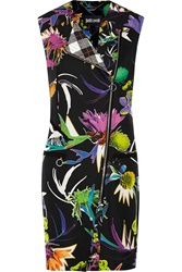 Just Cavalli Long Printed Silk Crepe Gilet Black