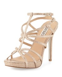 Badgley Mischka Aubrie Snake Embossed Strappy Sandal Natural
