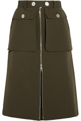 Alexander Mcqueen Wool And Silk Blend Twill Skirt Army Green