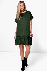 Boohoo Ruffle Hem T Shirt Dress Khaki