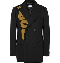 Dries Van Noten Black Brodie Slim Fit Double Breasted Appliqued Wool Blend Blazer Black