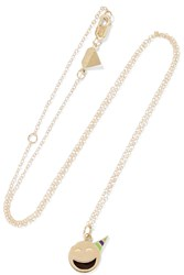 Alison Lou Small Party Animal 14 Karat Gold Enamel Necklace