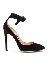 Gianvito Rossi Suede Ankle Tie Pumps In Black
