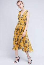 Anthropologie Golden Silk Midi Dress Yellow Motif