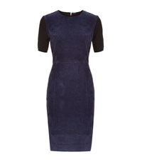 Elie Tahari Emily Suede Front Dress Female Dark Blue