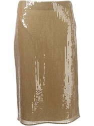 Nina Ricci Sequinned Pencil Skirt Nude And Neutrals