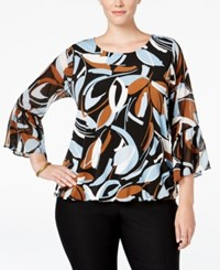 Alfani Plus Size Printed Blouson Blouse Only At Macy's Nature Strokes