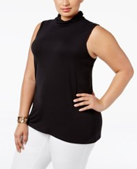 Alfani Plus Size Turtleneck Shell Only At Macy's Deep Black