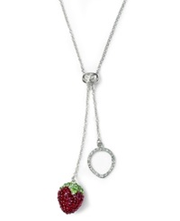 Sis By Simone I Smith Platinum Over Sterling Silver Necklace Crystal Strawberry Pendant