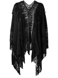 Ralph Lauren Collection Fringed Loose Fit Cardigan Black