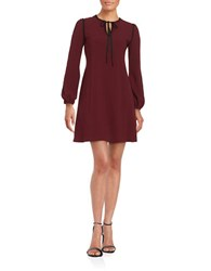 Taylor Crocheted Trimmed Shift Dress Wine