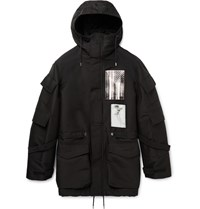 Givenchy Patch Embellished Cotton Blend Canvas Parka Black