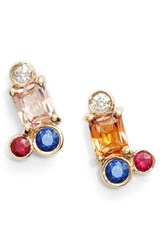 Women's Mociun Peach Sapphire Cluster Earrings