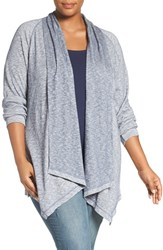 Caslonr Plus Size Women's Caslon Drape Front Cotton Cardigan Heather Navy Indigo