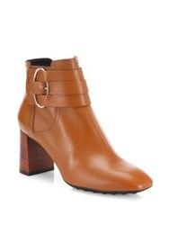 Tod's Gomma Leather Block Heel Booties Cognac