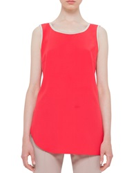 Akris Punto Sleeveless Silk Round Neck Top Sport Red Cord