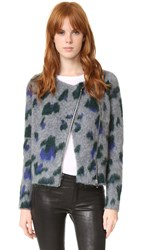 Elizabeth And James Yale Zip Cardigan Grey Bottle Green Purple