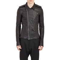 Rick Owens Convertible Leather Moto Jacket Black