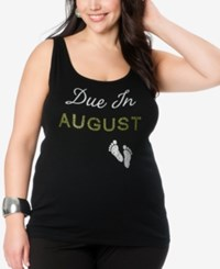 Motherhood Maternity Maternity Plus Size Graphic Tank Top Due In Aug