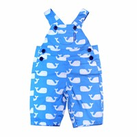 Toby Tiger Whale Dungarees White Blue