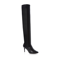 Dune Shock Over The Knee Dressy Boot Black Leather