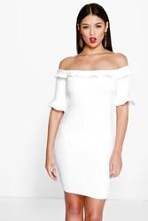 Boohoo Off The Shoulder Frill Sleeve Bodycon Dress Ivory
