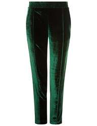 Haider Ackermann Emerald Velvet Elasticated Slim Trousers Green