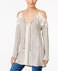 Styleandco. Style Co. Cold Shoulder V Neck Tunic Only At Macy's Brown