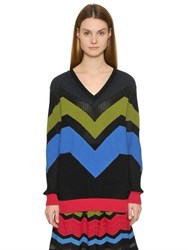M Missoni Viscose Wool Chevron Knit Sweater