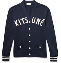 Maison Kitsune Appliqua D Fleece Back Cotton Jersey Cardigan Storm Blue